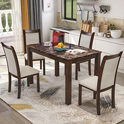 Amazon.com - Veryke 5 Piece Dining Room Table Set Modern ...