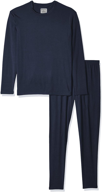 9M Clothing Company Men's Ultra-Soft Fleece Lined Thermal Top & Bottom Long John Underwear Set Dark Blue Large TS78-DBU-L