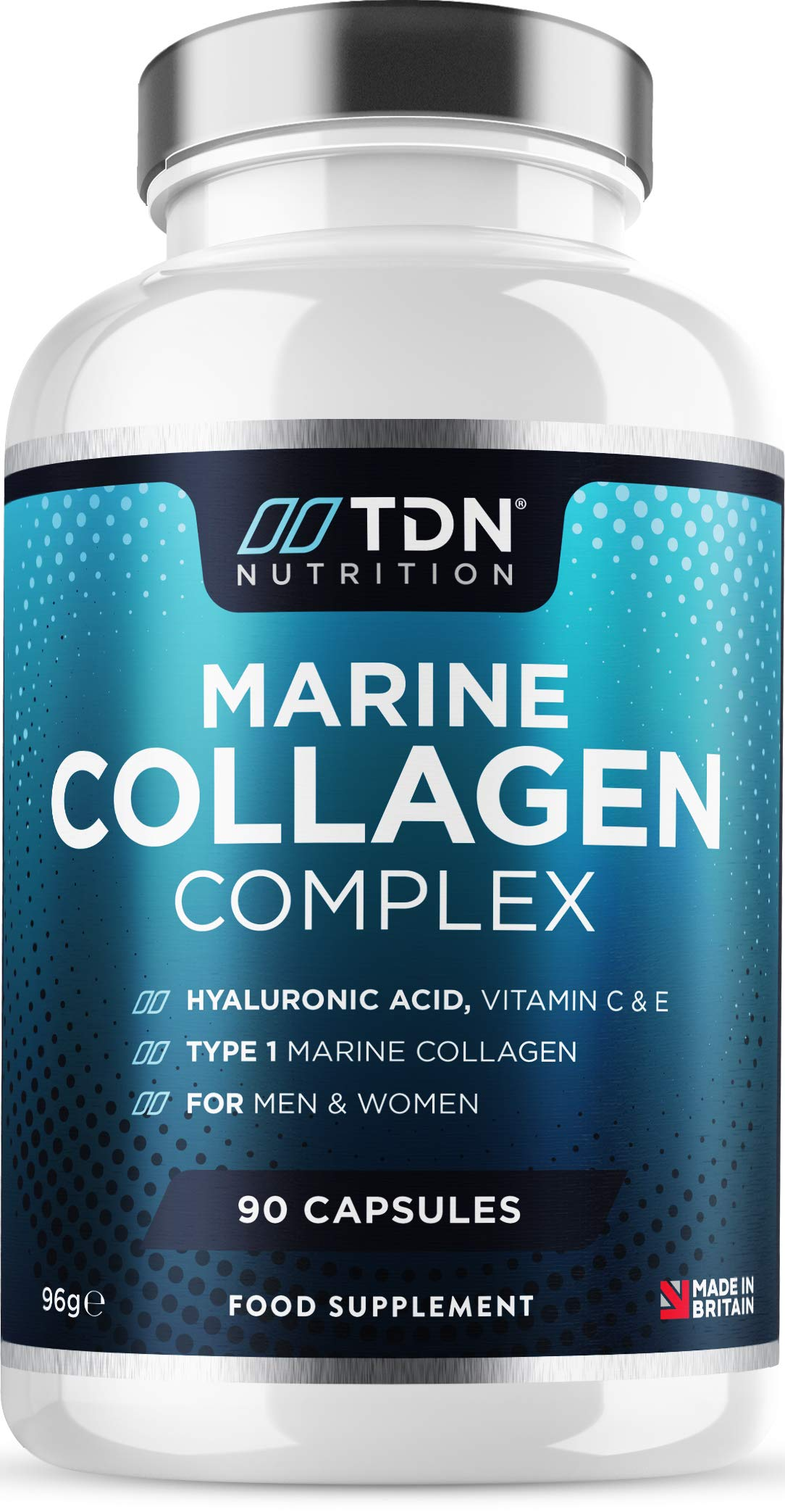 Marine Collagen 1700mg+ Supplement - 90 Capsules - Superior Type 1 Hydrolysed Peptan® Collagen Tablets - Enhanced with Hyaluronic Acid, Aloe Vera, Vitamin C, E, B6, B12, D3, Zinc & Selenium - UK Made