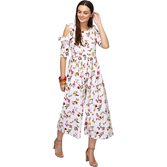 e6290d4f9b8b BAABUL White Floral Print Casual Crepe Jumpsuit for Women
