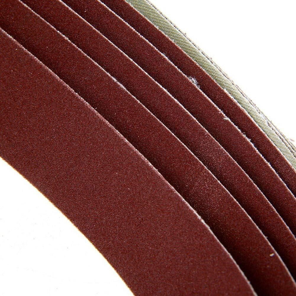 Vogueing Tool carpinter/ía textil Cinturones de lijado para lijadora abrasiva para materiales de construcci/ón pulido de metal 5 unidades