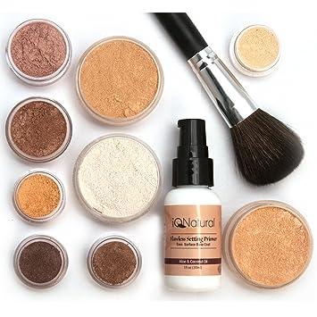 9d1ee318697 iQ Natural Mineral Makeup Starter Kit â Powder Brush, Silk Primer, Mineral  Foundation,