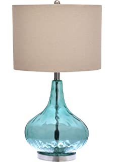 Aqua Teal Table Lamp Jug Shape With Dimpled Glass Base And Linen