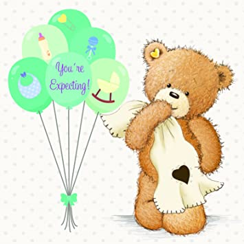 Twizler Popcorn The Bear New Grandchild Card With Moon And Heart