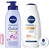 NIVEA In Bloom Variety Pack – 4 Piece with Body Lotion, Body Wash, Lip Balm, and Multipurpose Cream