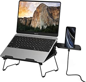 "2 in 1 Laptop Notebook Stand with Phone Stand Elekin Adjustable Portable MacBook Stand Foldable Notebook Holder Ergonomic Laptop Riser for MacBook, Air, Pro, Surface Laptop, Ipad, Books to 17"",Black"
