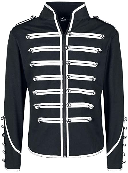Lost Queen Mens Black and Silver Military Jacket