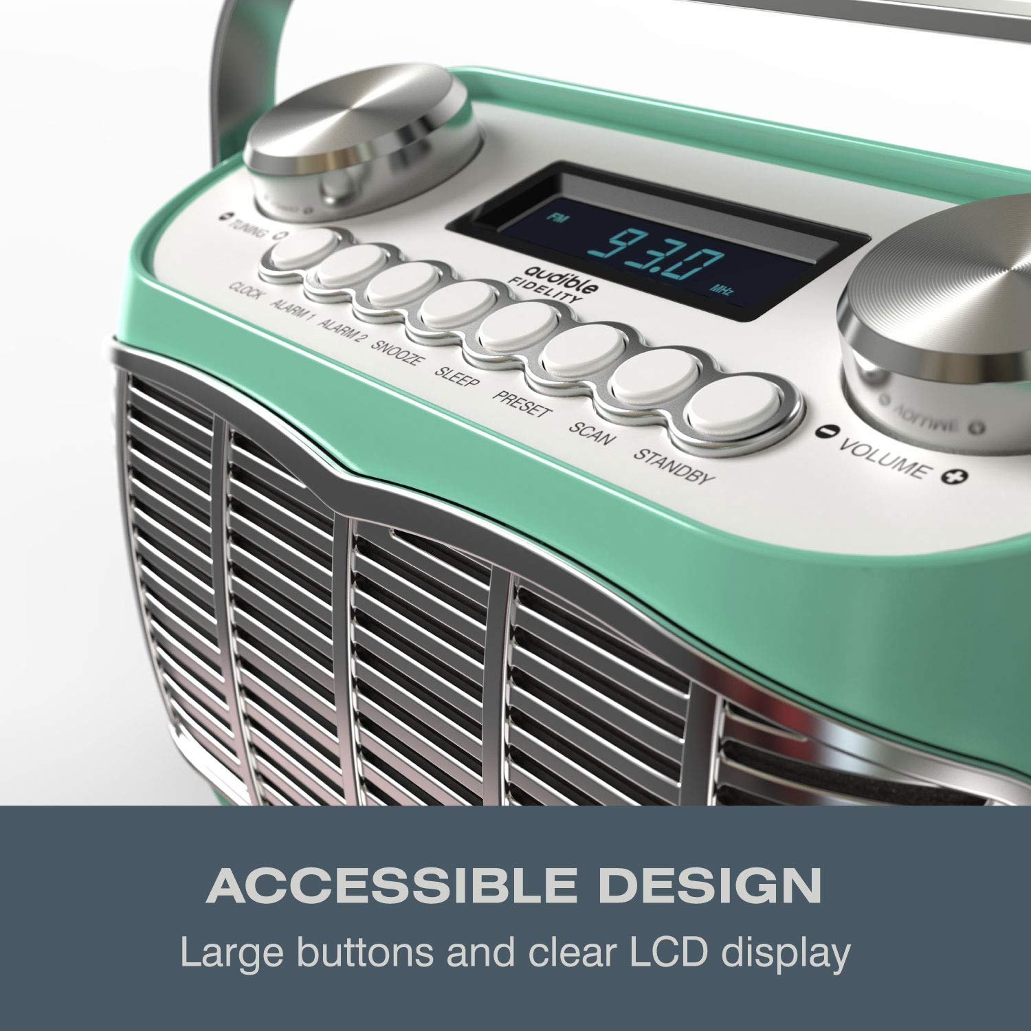 Detroit, FM AM Radio Alarm Clock Bedside Mains Powered Or Battery FM Retro Radio with LCD Display Clock Radio (Green)