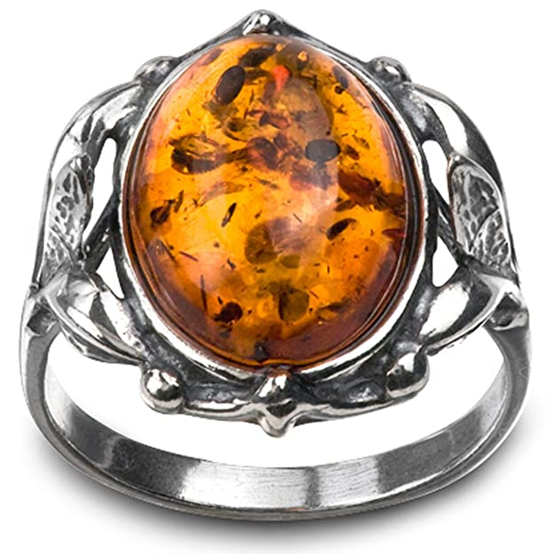 Vintage Style Jewelry, Retro Jewelry Sterling Silver Amber Victorian Style Oval Ring $18.78 AT vintagedancer.com