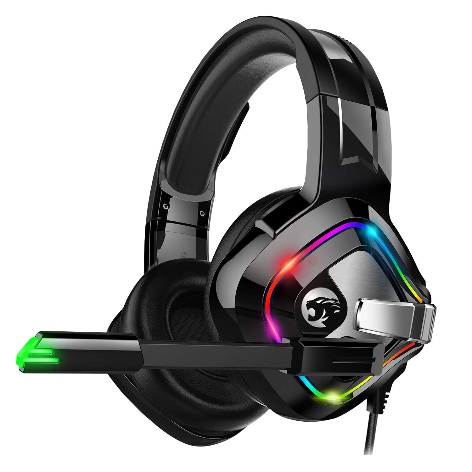 ZIUMIER Gaming Headset Xbox One Headset, PS4 Headset with Noise Canceling Mic and RGB Light, PC Headset with Bass Surround Sound, Over Ear Headphones for PC, PS4, Xbox One, Laptop by ZIUMIER