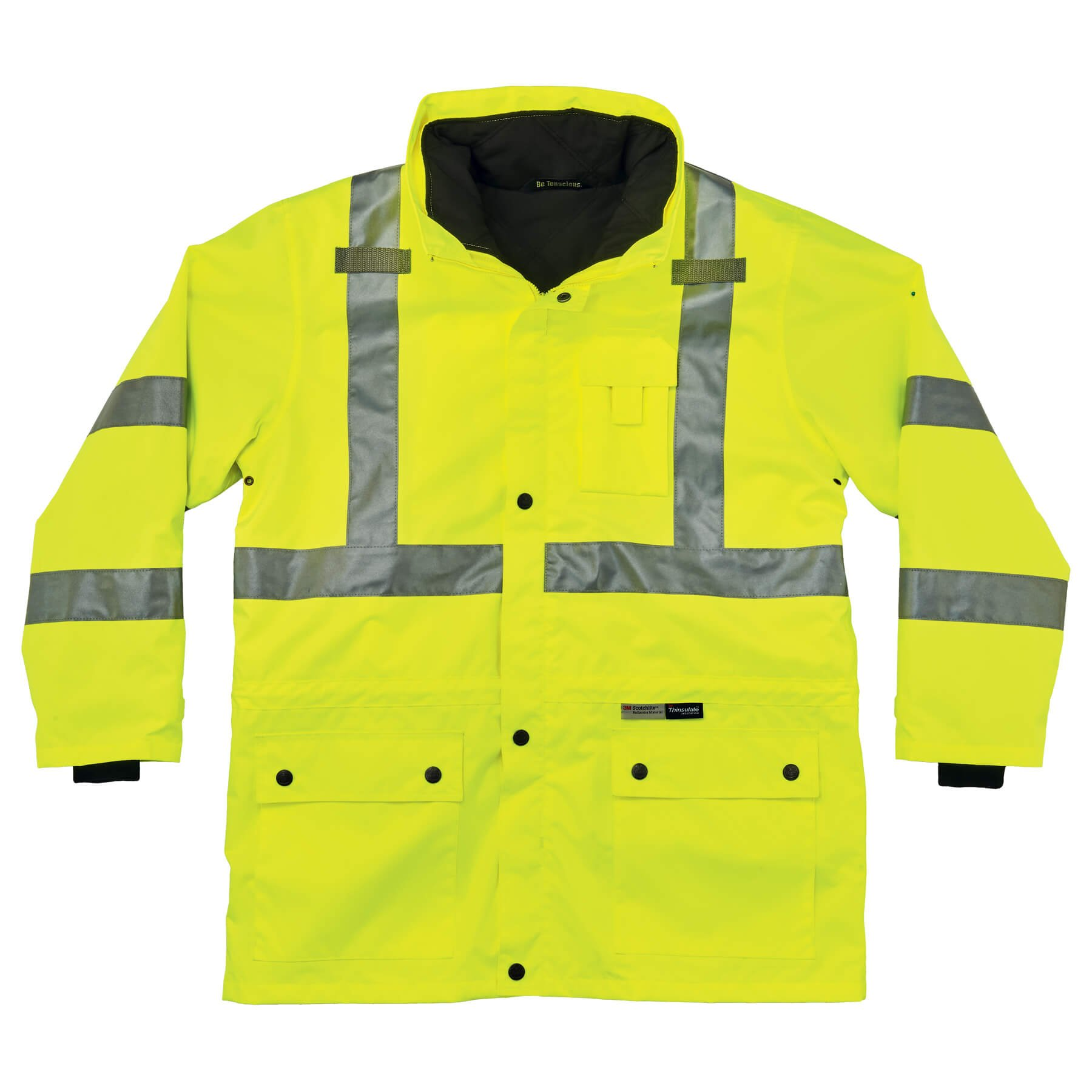 GloWear 8385 ANSI High Visibility 4-in-1 Reflective Safety Jacket, Lime, 3XL by Ergodyne