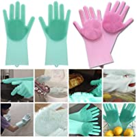Eco Magic Silicone Latex-Free Scrub Cleaning Gloves with Scrubber for Dishwashing and Pet Grooming (Multicolour, 1 Pair)