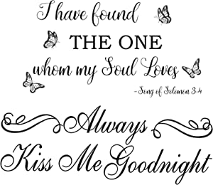 Always Kiss Me Goodnight Quotes Wall Stickers, Wall Decal Sticker Quotes I Have Found The One Whom My Soul Loves Black Vinyl Wall Decals for Window, Wall, Door, Living Room