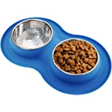 Roysili Double Dog Bowl Pet Feeding Station, Stainless Steel Water and Food Bowls with Non Skid Non Spill Silicone Mat, Quality Dog Bowl Holder for Small Medium Dogs Cats