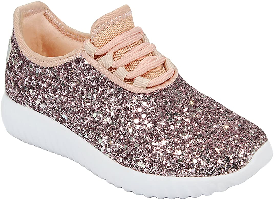 Sneaker Lace Stylish Shoes Fashion Glitter Girls Toddlers Up Light Weight Sequins Metallic Yb6gy7f