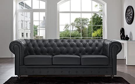 Classic Scroll Arm Tufted Button Bonded Leather Chesterfield Style Sofa  (Black)