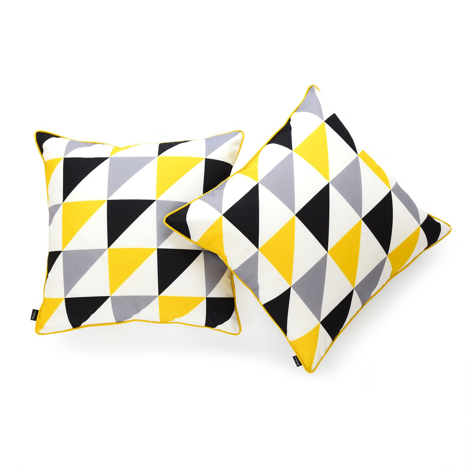 Hofdeco Decorative Throw Pillow Cover INDOOR OUTDOOR WATER RESISTANT Canvas Vivid Yellow Grey Black Triangle 18''x18'' Set of 2