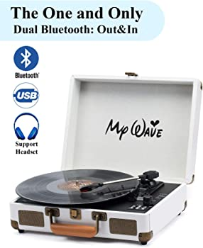 MyWave Portable Vinyl Record Player with Built-in Stereo Speaker
