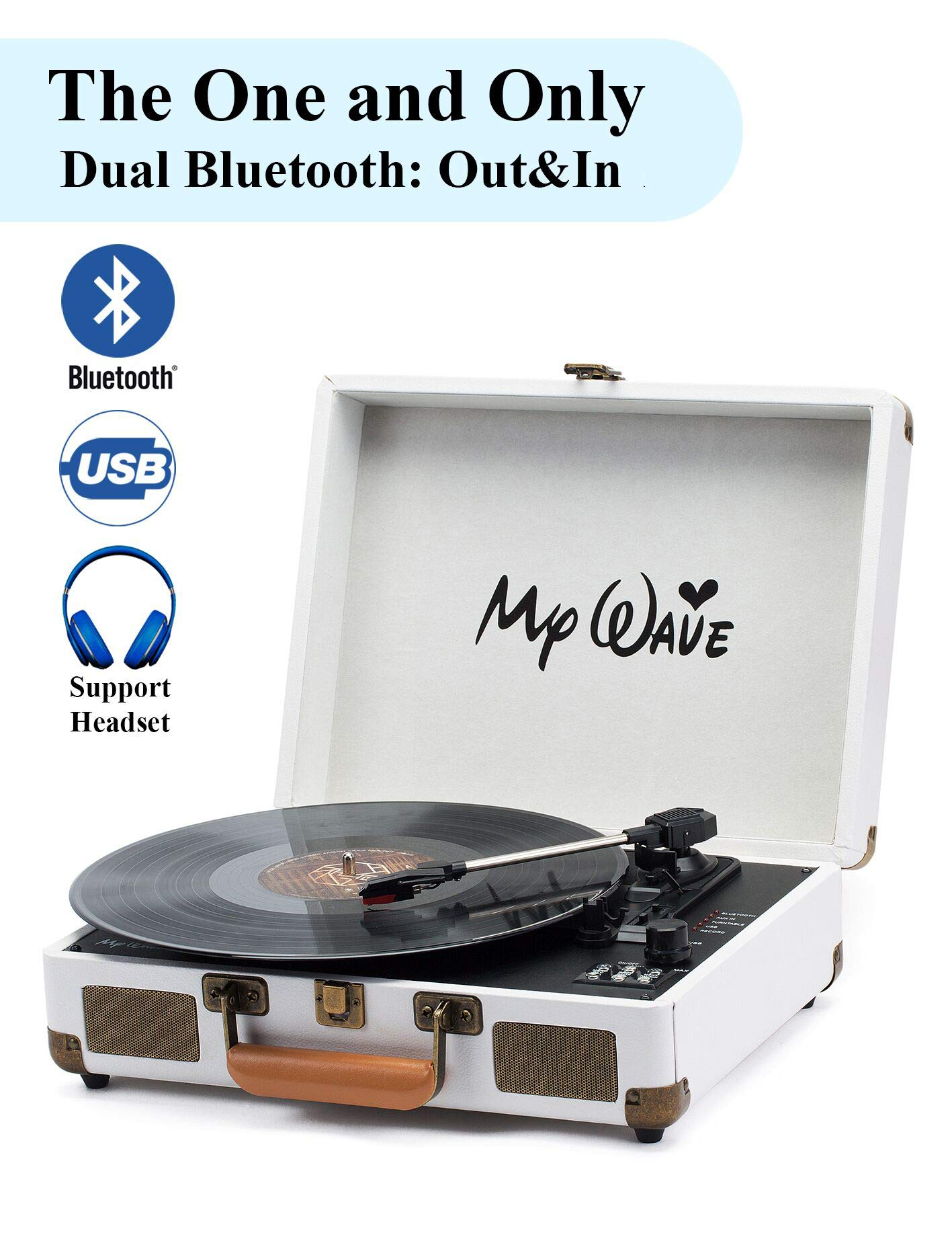 MyWave Bluetooth Wireless Turntable Portable Record Player with Built-in Stereo Speakers, 3-Speed,Vinyl-to-MP3 Recording,Both Bluetooth Transmit Out & Receive in,AUX in,RCA Out,Headphone (White-2)