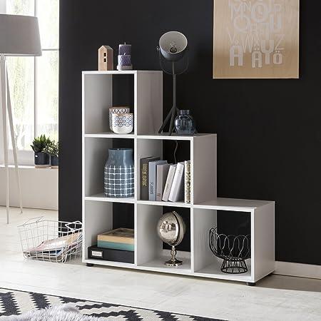 Escalera de madera estante LUNA 6 compartimentos blanca que se coloca 104,5x111x29cm estanterías | Diseñar un separador de ambientes para las carpetas y libros | Pequeño estante escaleras: Amazon.es: Hogar
