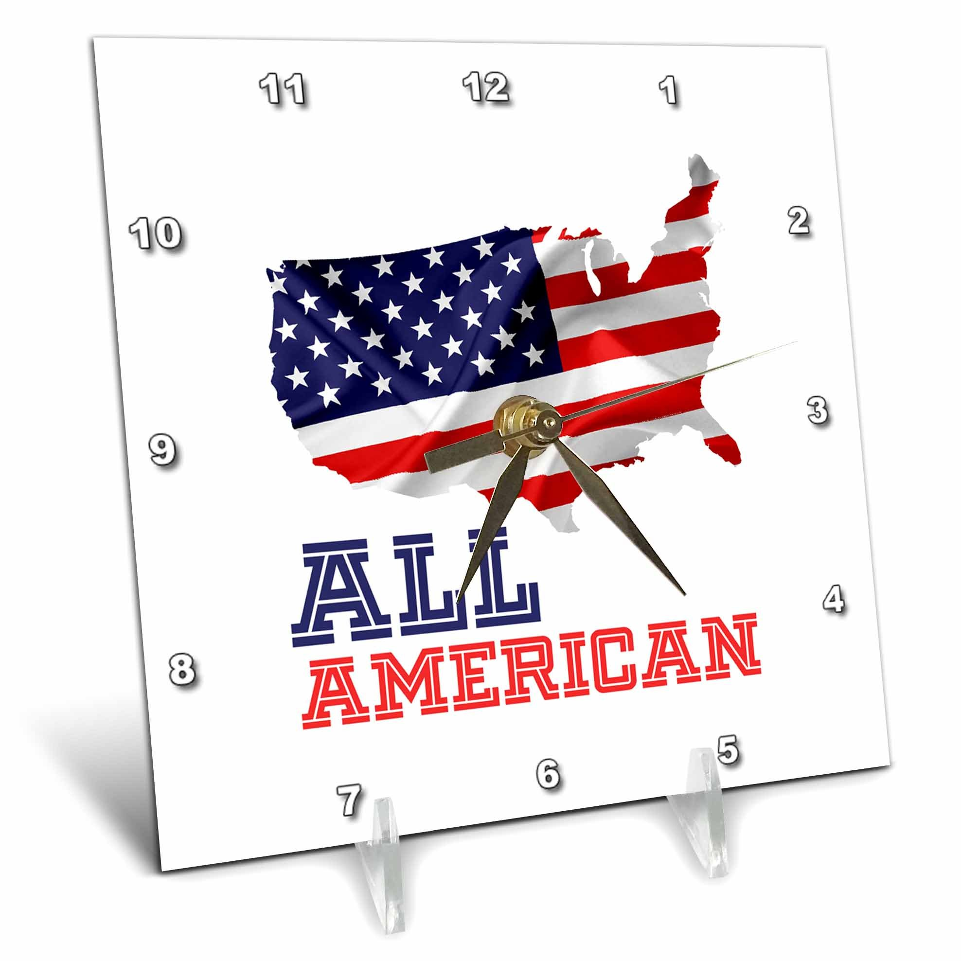 3dRose Alexis Design - America - American USA map, flag and a text All American on white background - 6x6 Desk Clock (dc_281216_1)