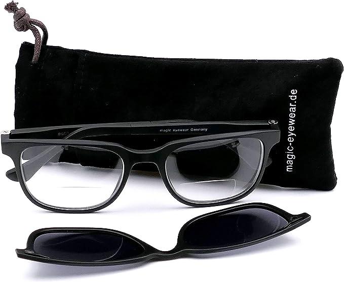 Lunettes de lecture bifocale pour homme avec clip solaire magn/étique