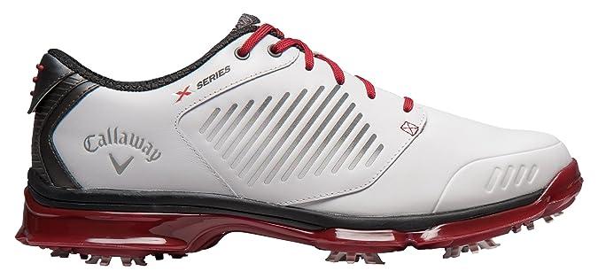 Callaway Xfer Nitro, Chaussures de Golf Homme, Blanc/Gris/Cramoisi, 47 (M)