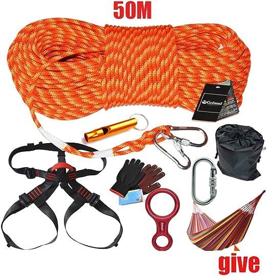 WYX Kit de Escalada de 50 m, arnés de Escalada al Aire Libre ...