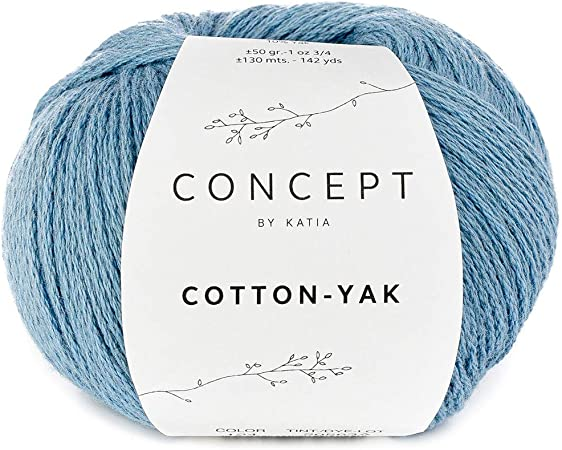 Katia Concept Cotton Yak Color 124 - Ovillo de lana con lana de yak y algodón para tejer y hacer ganchillo, color azul: Amazon.es: Hogar
