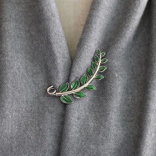 Joyci Vintage Green Leaf Brooch Cardigan Pin Shawl Brooch Buckle Sweater Knitwear Lapel Pin