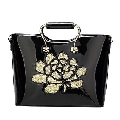Damen-Mode Stickerei Lackleder Handtasche Handtaschen Umhängetasche Diagonal Paket Luxus Exquisite,Black-OneSize GKKXUE
