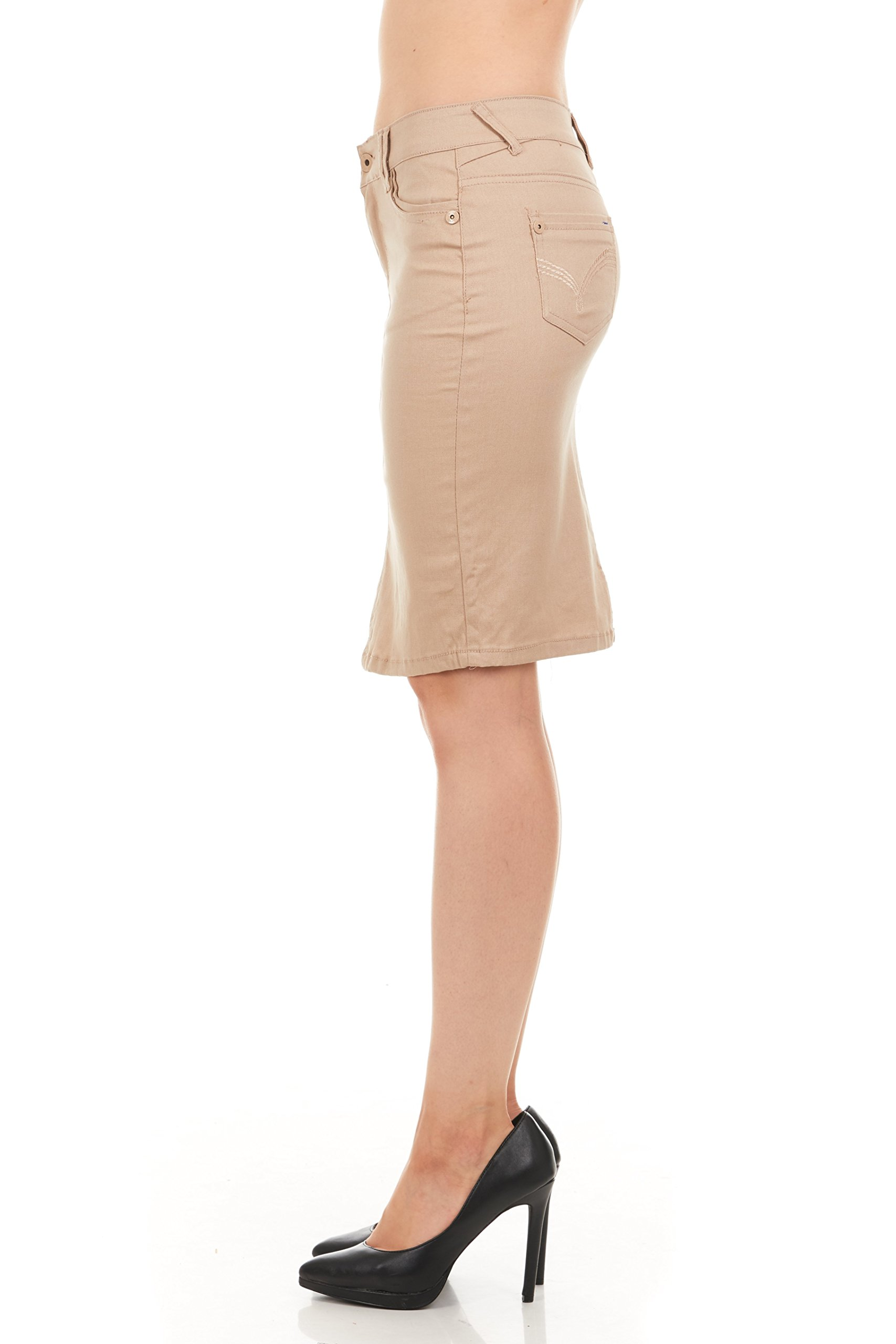 FGR Girl's Stertchy Cotton 5 Pocket Color Denim Skirt Khaki Size 12 by FGR (Image #8)
