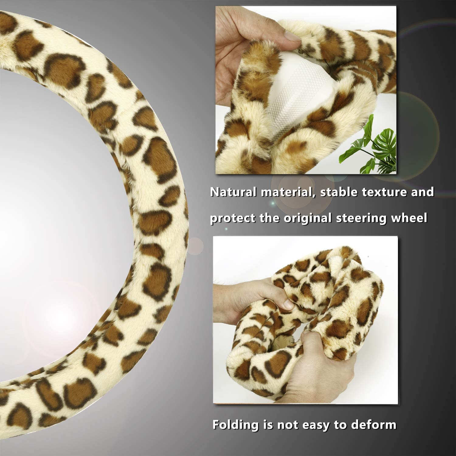 Achiou Universal 15 Inch Steering Wheel Cover Luxurious Faux Wool Comfortable to Grip Auto Car Wheel Wrap with Leopard Pattern