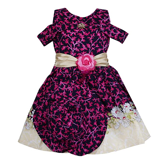 2694c928fa47 Bidhan Cotton Black   Pink Off-Shoulder Frock with Cap for Girls ...