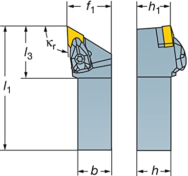 Right Hand Steel Rigid Clamp 1 Width x 1 Height Shank 93 Degree Entering Angle 6 Length x 1.25 Width External TNMG 432 Insert Size Square Shank Sandvik Coromant DTJNR 16 4D Turning Insert Holder