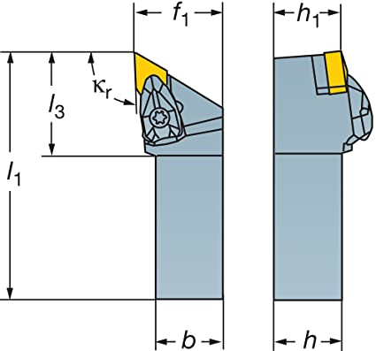 Sandvik Coromant DDJNL Turning Insert Holder 6 Length 1 Shank Width x 1 Shank Height RC Top and Hole Clamping 1-1//4 Width Square External Longitudinal and Facing Steel 15 Insert Size