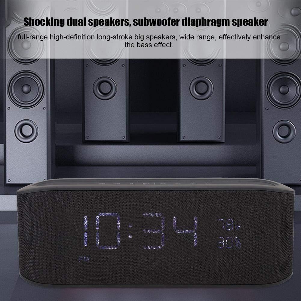 HiFi Subwoofer Bluetooth Wecker Unterst/ützung TF Card USB Playback Wirelss Dual Wecker Lautsprecher Bluetooth 4,2 Subwoofer Wecker