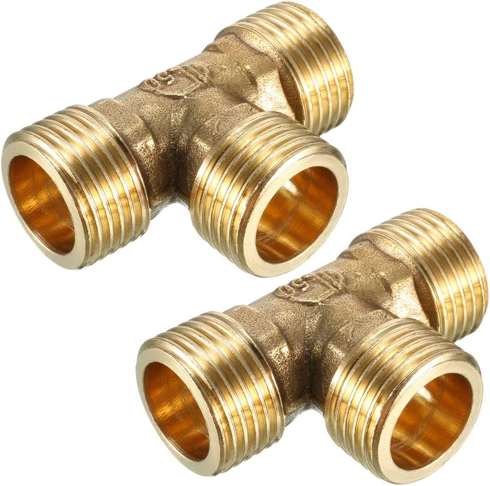 uxcell Brass Tee Pipe Fitting 1/2 PT Male Thread T Shaped Connector Coupler 2pcs
