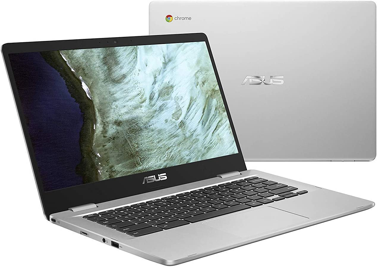 "Asus Chromebook 14"" Full HD Laptop Computer, Intel Celeron N3350 up to 2.4GHz, 4GB DDR4, 64GB eMMC Flash Memory, HD Webcam, Bluetooth, USB-C, MicroSD, Chrome OS (Renewed)"
