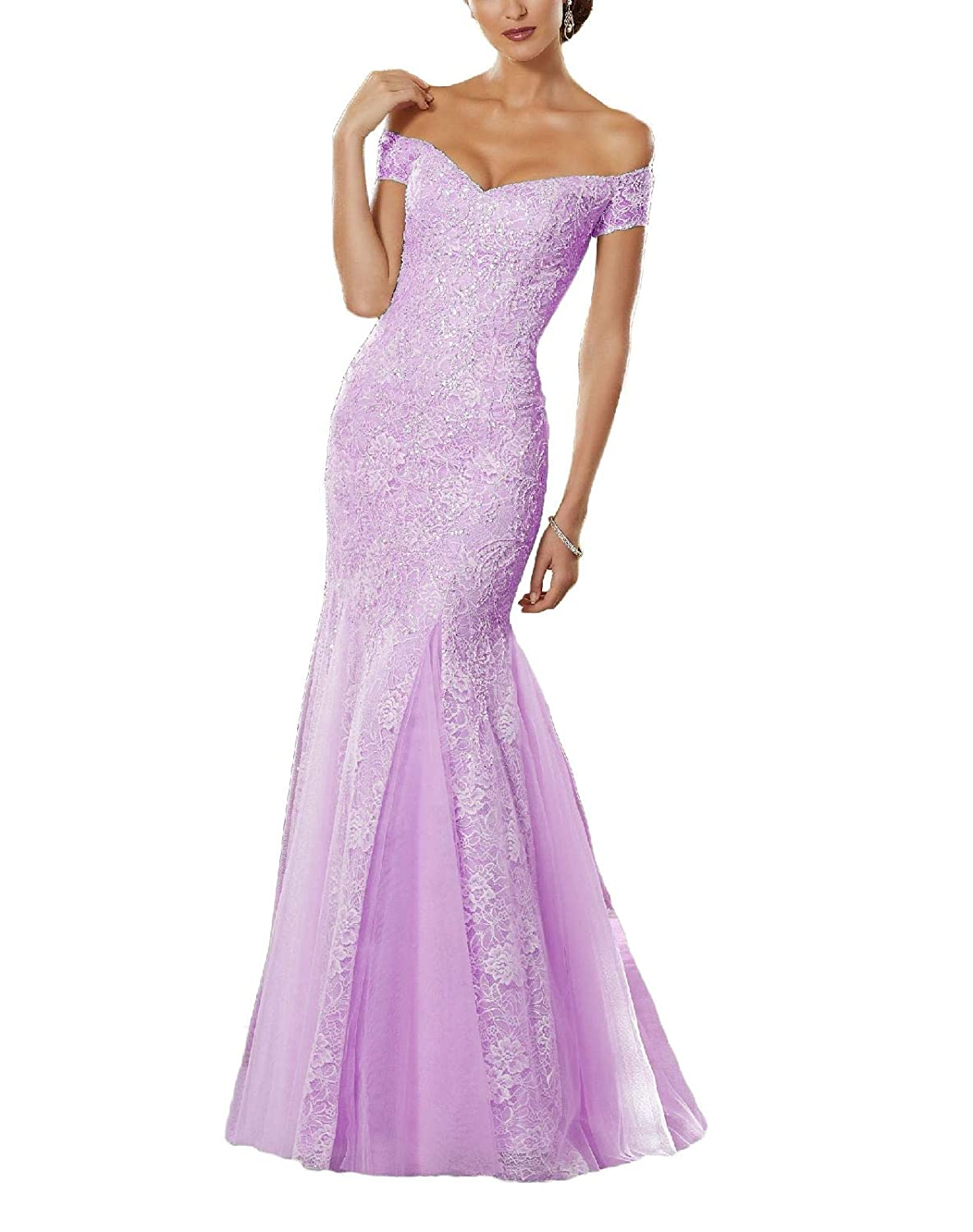 Lightpurple Yisha Bello Women's Off The Shoulder Mermaid Crystal Beaded Prom Dress Long Lace Evening Formal Gowns