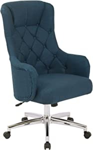 OSP Home Furnishings Ariel Tufted High Back Desk Chair with Wraparound Arms and Chrome Base, Klein Azure