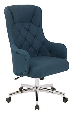 AVE SIX Ariel Tufted High Back Desk Chair with Wraparound Arms and Chrome Base, Klein Azure