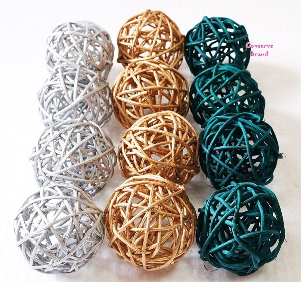 Christmas Gifts : Small Silver, Gold, Dark Green Rattan Ball, Wicker Balls, DIY Vase And Bowl Filler Ornament, Decorative spheres balls, Perfect For Decoration On Any Occasion 2 - 2.5 inch, 12 Pcs. by Conserve's Rattan Ball