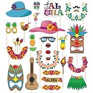 60pcs Luau Photo Booth Props - Hawaiian/Tropical/Tiki/Summer Pool Party Decorations Supplies