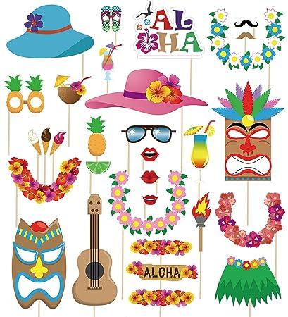 49d45028 Amazon.com: 60pcs Luau Photo Booth Props - Hawaiian/Tropical/Tiki ...