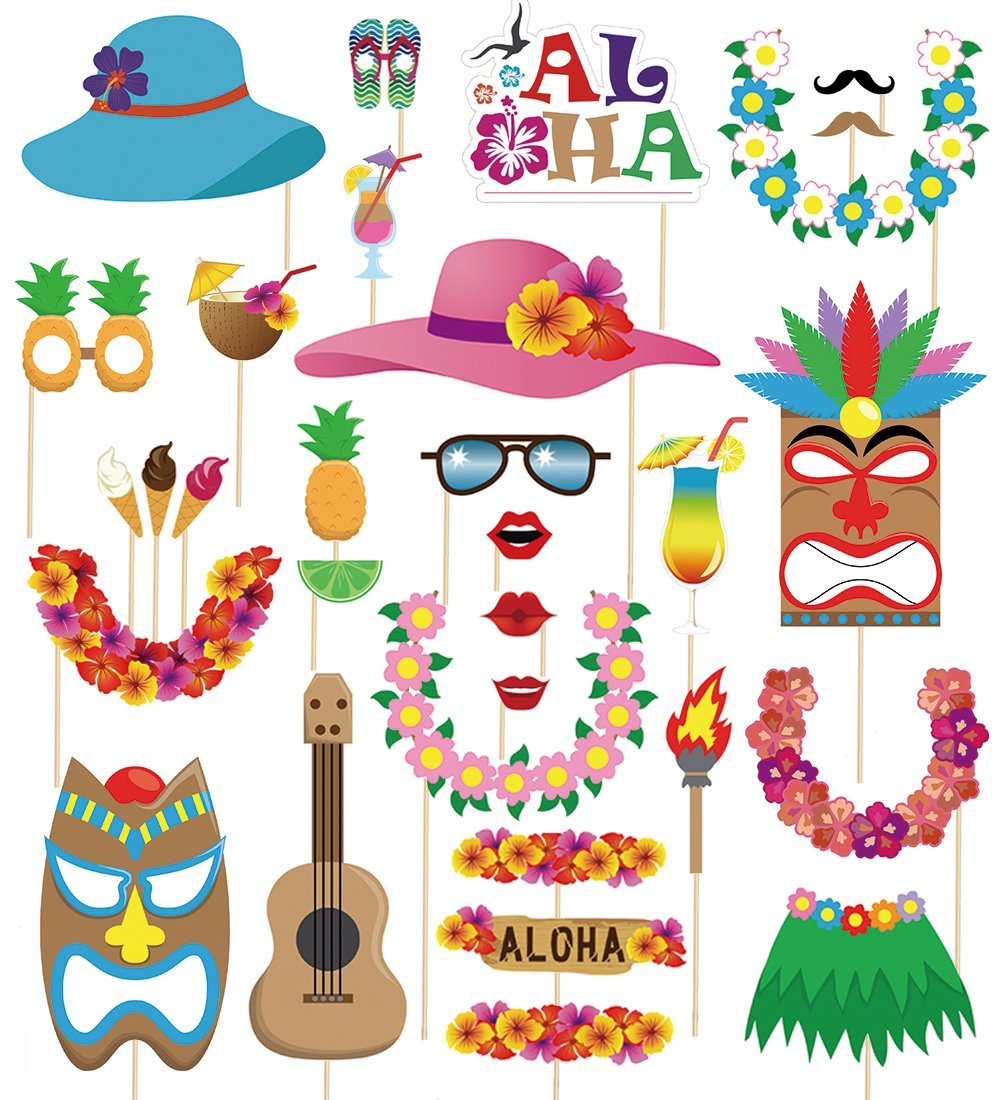 60pcs Luau Photo Booth Props - Hawaiian/Tropical/Tiki/Summer Pool Party Decorations Supplies by Moon Boat