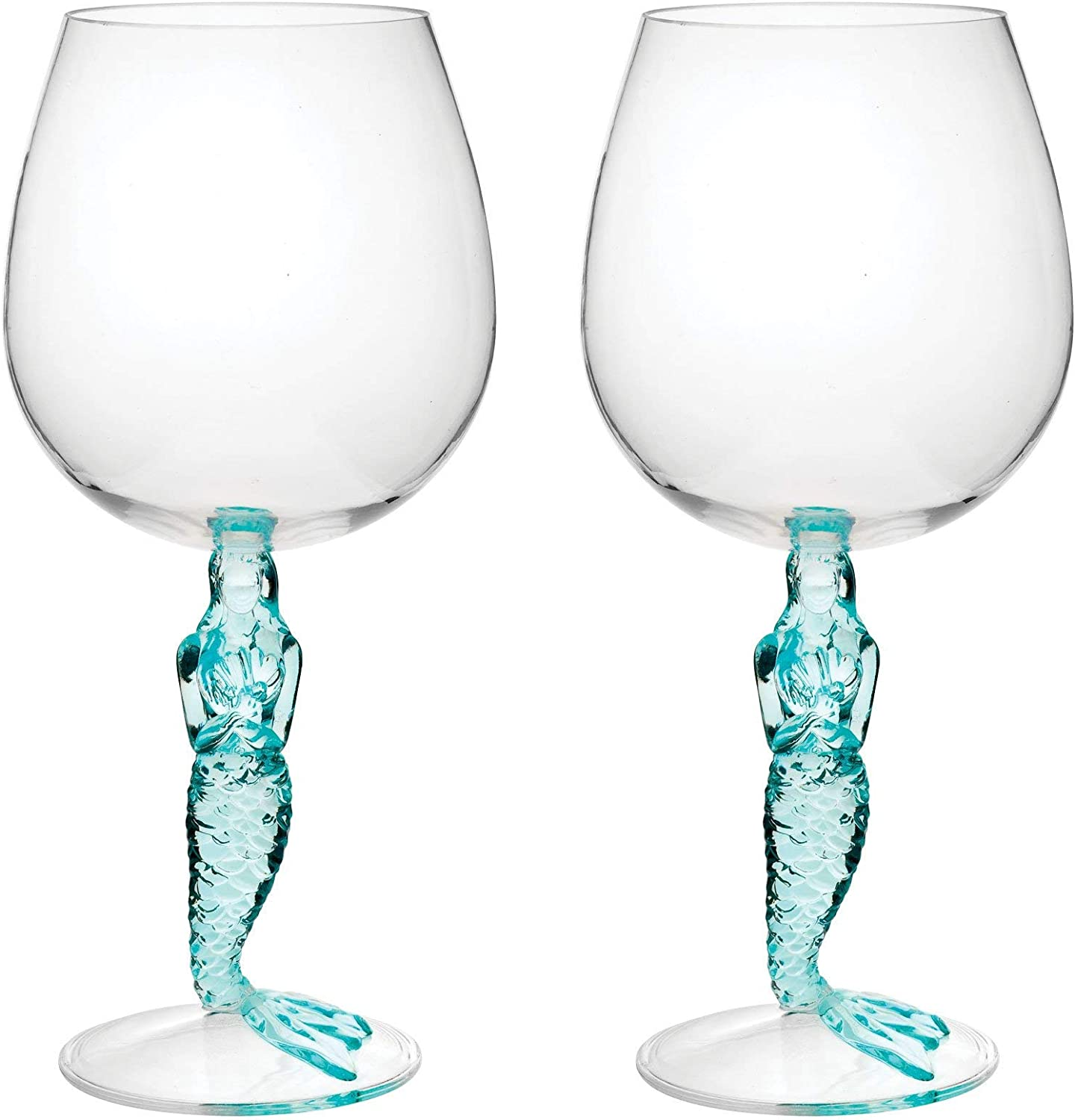 Gourmet Art 2-Piece Mermaid 17 oz. Durable Acrylic Plastic Wine Glass, Ideal for Wine and Beverage