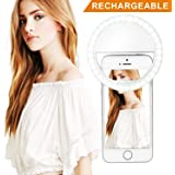 Selfie Ring Light, Rechargeable Light Ring for Camera, Clip on Selfie LED Camera Light with 3 brightness levels for iPhone iPad Sumsung Galaxy Photography Phones, Great for Applying Make Up