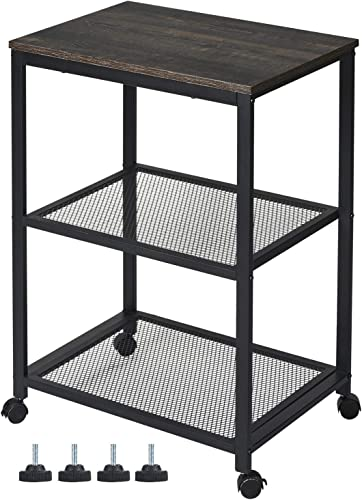 Kicode Baker s Rack, Standing Kitchen Microwave Cart 3-Tier Kitchen Utility Cart with 2 Tier Metal Wire Rack, Storage Organizer for Living Room Kitchen Bathroom, 31.8 H x 15.8 W x 23.6 L