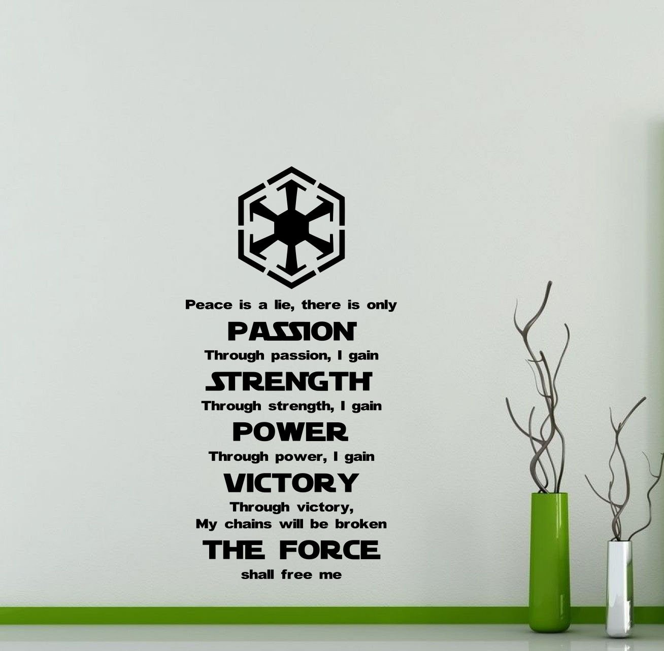 Star Wars Wall Vinyl Decal Sith Code Passion Strength Power Victory The Force Codex Quote Vinyl Sticker Home Teen Kids Room Nursery Art Decor Lettering Vinyl Mural (48sw)
